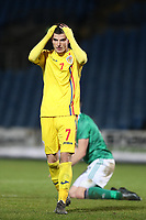 19th November 2019; Ballymena Showgrounds, Ballymena, Antrim County, Northern Ireland; European Under 21 Championships 2021 Qualifier, Northern Ireland Under 21 versus Romania Under 21; Valentin Mihaila of Romania rues missing another chance in front of goal - Editorial Use