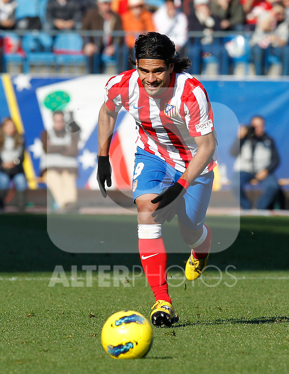 Madrid (04/12/2011).- Estadio Vicente Calderon..LIGA BBVA 15ª Jornada.Atletico de Madrid - Rayo Vallecano..Falcao.......