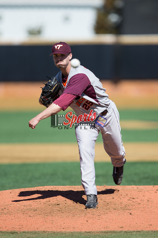 Virginia Tech Hokies starting pitcher Nick Anderson (26) of the Virginia Tech Hokies in action against the Wake Forest Demon Deacons at Wake Forest Baseball Park on March 7, 2015 in Winston-Salem, North Carolina.  The Hokies defeated the Demon Deacons 12-7 in game one of a double-header.   (Brian Westerholt/Sports On Film)