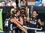 Argentina's Agustina Garcia, right, celebrates with teammates after Luciana Aymar scored during Samsung Women's World Cup Hockey Pool B match between Argentina and South Korea at Club de Campo in Madrid, Monday 02 October, 2006. (ALTERPHOTOS/Alvaro Hernandez).