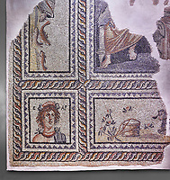 Roman mosaics - Seasons  Mosaic. Telete Villa.  2nd - 3rd century AD . Zeugma Mosaic Museum, Gaziantep, Turkey.<br /> <br /> Seasons mosaic Telete, was unearthed during the rescue excavations y Gaziantep Museum in 1994 when it was about to be stolen by the traffickers. It is the floor mosaic of a villa terrace located on the western skins of Zeugma hill <br /> <br /> The pane% consists of nine parts. At the central panel, Eros, who Is a mythological character and who has a crown on his head, sits side by side with Telete, the daughter of Dionysus. This representation symbolises the preparation of a young woman who is just about to taste the love and to become mature. There are busts of seasonal gods In the square panels at the corners. The crowned head of the Spring Goddess Ear Is slightly towards right. She wears a floral necklace. Her righr shoulder is naked and the crimps of her cloak are seen on her left shoulder. There is the bust of the river god on the top-right of the Telete panel. A kid lying on the grass and a bucket are pictured in the lower rectangular panel. In the western-side rectangular panel, on the other hand, there are four fish going in and out of a game basket. There is a rabbit figure within the rectangular panel on the right. Mythical narrations and natural life are intertwined in this mosaic.