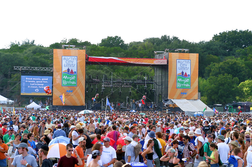 Fans gather at one of the main stages at the Austin City Limits music festival in Austin.<br />