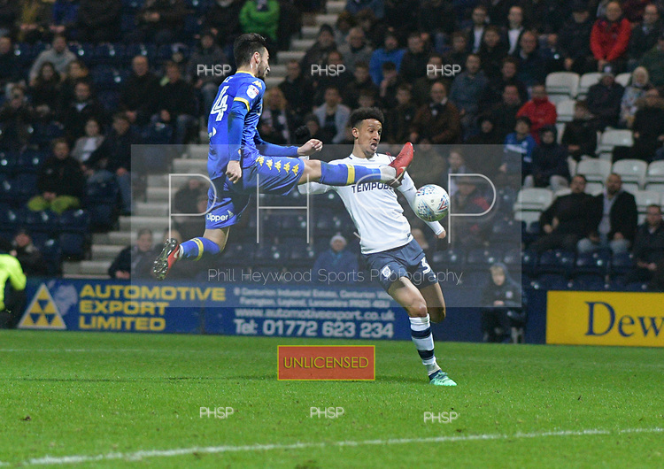 10/04/2018 Sky Bet League Championship Preston North End v Leeds United<br /> <br /> Adam Forshaw challenges Callum Robinson
