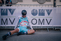 Gilles Kirsch (LUX)<br /> <br /> post-race battlefield in the finish zone<br /> <br /> MEN JUNIOR INDIVIDUAL TIME TRIAL<br /> Hall-Wattens to Innsbruck: 27.8 km<br /> <br /> UCI 2018 Road World Championships<br /> Innsbruck - Tirol / Austria