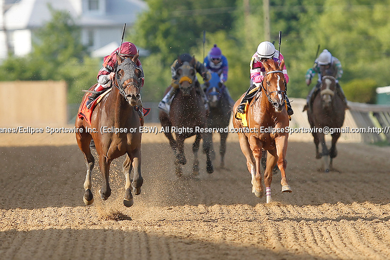 May 17, 2013, Last Gunfighter (#7, left), Javier Castellano up, wins the Pimlico Special at Pimlico Race Course in Baltimore, MD. Trainer is Chad Brown. (Joan Fairman Kanes/Eclipse Sportswire)