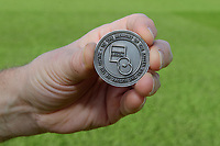 A close up of a commemorative coin, marking Remembrancetide, used for the pre-match coin toss<br /> <br /> Photographer Chris Vaughan/CameraSport<br /> <br /> Emirates FA Cup First Round - Lincoln City v Northampton Town - Saturday 10th November 2018 - Sincil Bank - Lincoln<br />  <br /> World Copyright &copy; 2018 CameraSport. All rights reserved. 43 Linden Ave. Countesthorpe. Leicester. England. LE8 5PG - Tel: +44 (0) 116 277 4147 - admin@camerasport.com - www.camerasport.com