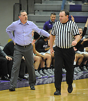 NWA Democrat-Gazette/ANDY SHUPE<br /> Fayetteville coach Vic Rimmer (left) argues Friday, Feb. 10, 2017, after being assessed a technical foul by a game official during the second half of play in Bulldog Arena. Visit nwadg.com/photos to see more photographs from the game.
