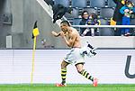 ***BETALBILD***  <br /> Solna 2015-05-31 Fotboll Allsvenskan AIK - Helsingborgs IF :  <br /> AIK:s Nabil Bahoui jublar och kastar av sig sin matchtr&ouml;ja tr&ouml;ja efter sitt 2-1 m&aring;l under matchen mellan AIK och Helsingborgs IF <br /> (Foto: Kenta J&ouml;nsson) Nyckelord:  AIK Gnaget Friends Arena Allsvenskan Helsingborg HIF jubel gl&auml;dje lycka glad happy bar &ouml;verkropp matchtr&ouml;ja tr&ouml;ja