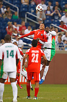 7 June 2011: Panama forward Blias Pérez (7) heads the ball during the CONCACAF soccer match between Panama and Guadeloupe at Ford Field Detroit, Michigan.
