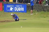 Liam Johnston (SCO) chips from a bunker at the 18th green during Saturday's Round 3 of the Dubai Duty Free Irish Open 2019, held at Lahinch Golf Club, Lahinch, Ireland. 6th July 2019.<br /> Picture: Eoin Clarke | Golffile<br /> <br /> <br /> All photos usage must carry mandatory copyright credit (© Golffile | Eoin Clarke)