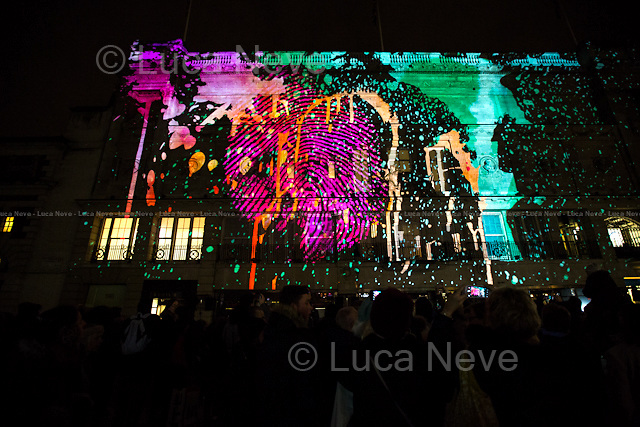 London, 16/01/2016. Second day of the four-day festival &quot;Lumiere London&quot;. From the organisers Facebook page: &lt;&lt;[&hellip;] Light installations by 30 leading artists will illuminate the capital's buildings and streets across 4 main areas: - King's Cross; - Mayfair; - Piccadilly, Regent Street, and St James's; - Trafalgar Square and Westminster. [&hellip;]&gt;&gt;.<br />