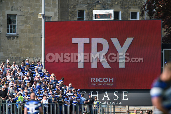 A general view of the big screen during a try. Aviva Premiership match, between Bath Rugby and London Irish on May 5, 2018 at the Recreation Ground in Bath, England. Photo by: Patrick Khachfe / Onside Images