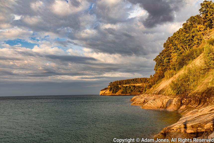 Rugged shoreline, Lake Superior, Pictured Rocks National Lakeshore, Upper Peninsula, Michigan.