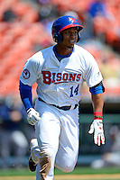 Buffalo Bisons outfielder Moises Sierra #14 during the first game of a doubleheader against the Pawtucket Red Sox on April 25, 2013 at Coca-Cola Field in Buffalo, New York.  Pawtucket defeated Buffalo 8-3.  (Mike Janes/Four Seam Images)