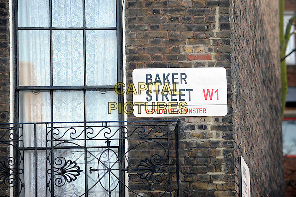"ATMOSPHERE .Filming on the set of ""Sherlock"", Warren Street, London, England..April 11th, 2010.**EXCLUSIVE ALL ROUNDER**.gv general view baker street sign city of westminster .CAP/IA.©Ian Allis/Capital Pictures."