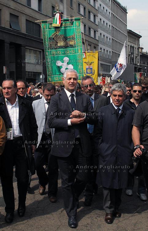 Italia, Milano  2010.Roberto Formigoni in manifestazione.####.Italy, Milan  2010.Roberto Formigoni