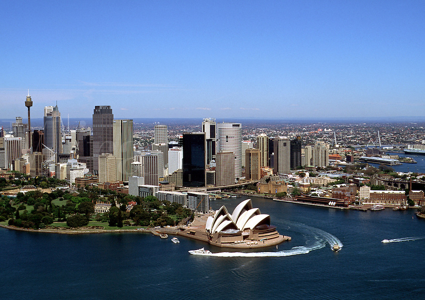 Overview of the Sydney skyline with the harbor and Opera House. Australia.