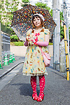 August 27, 2012, Tokyo, Japan - Koksmicaco, Illustrator. Today's fashion point - yellow lolita. Favorite brand - Emily Temple Cute. Favorite fashion style - designs from the brand called Malkomalka. Favorite place - Harajuku. (Photo by Christopher Jue/Nippon News)
