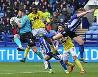Sheffield Wednesday's Keiren Westwood claims the ball while pressured by Blackburn Rovers' Tyler Maglorie<br /> <br /> Photographer David Shipman/CameraSport<br /> <br /> The EFL Sky Bet Championship - Sheffield Wednesday v Blackburn Rovers - Saturday 16th March 2019 - Hillsborough - Sheffield<br /> <br /> World Copyright &copy; 2019 CameraSport. All rights reserved. 43 Linden Ave. Countesthorpe. Leicester. England. LE8 5PG - Tel: +44 (0) 116 277 4147 - admin@camerasport.com - www.camerasport.com