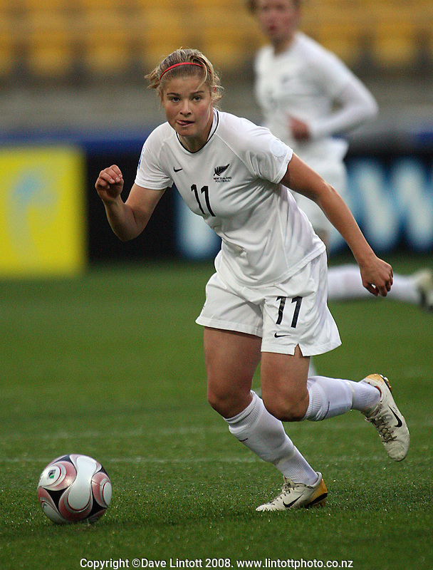 NZ striker Rosie White during the FIFA Women's Under-17 World Cup pool match between New Zealand and Columbia at Westpac Stadium, Wellington, New Zealand on Tuesday, 4 November 2008. Photo: Dave Lintott / lintottphoto.co.nz