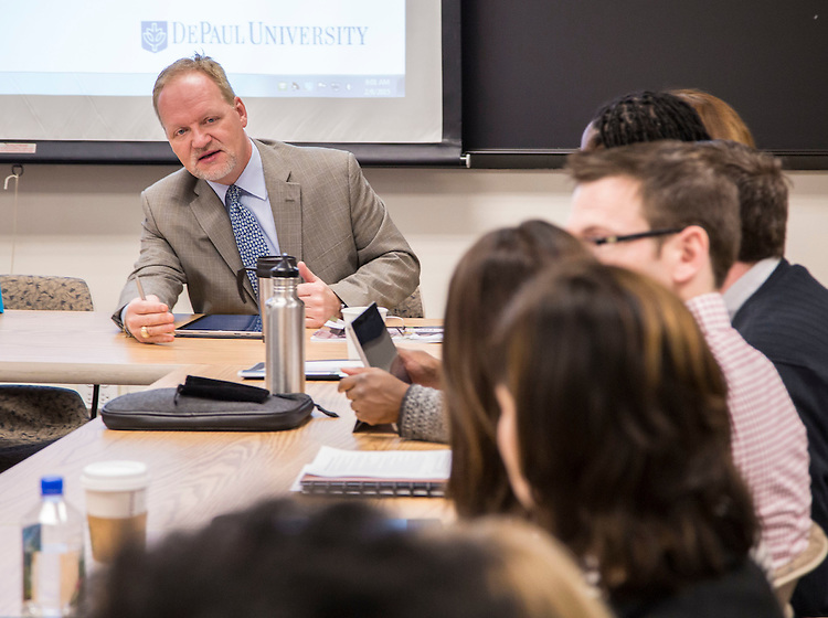 Gene Zdziarski, Vice President for Student Affairs, as DePaul University's Division of Student Affairs held a meeting for their senior staff in the Loop Friday, Feb. 6, 2015. (DePaul University/Jamie Moncrief)