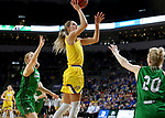 SIOUX FALLS, SD - MARCH 7: Tylee Irwin #21 of the South Dakota State Jackrabbits goes up for a jump shot against North Dakota Fighting Hawks at the 2020 Summit League Basketball Championship in Sioux Falls, SD. (Photo by Dave Eggen/Inertia)