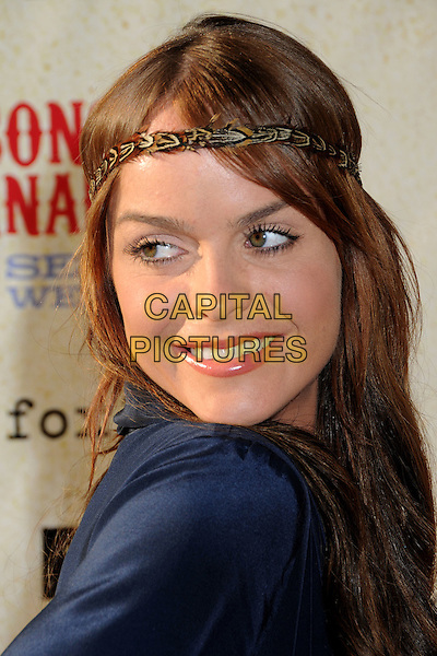 "TARYN MANNING .Series Premiere Screening of ""Sons of Anarchy"" at Paramount Studios, Hollywood, California, USA, .24 August 2008.portrait headshot head band hairband headband blue back over shoulder .CAP/ADM/BP.©Byron Purvis/Admedia/Capital PIctures"