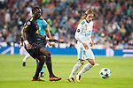 Real Madrid Luka Modric and Tottenham Moussa Sissoko during UEFA Champions League match between Real Madrid and Tottenham at Santiago Bernabeu in Madrid, Spain October 17, 2017. (ALTERPHOTOS/Borja B.Hojas)