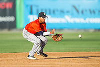 Greeneville Astros shortstop Antonio Nunez (1) fields a ground ball against the Burlington Royals at Burlington Athletic Park on June 29, 2014 in Burlington, North Carolina.  The Royals defeated the Astros 11-0. (Brian Westerholt/Four Seam Images)