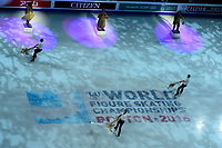 Wednesday, March 30, 2016: Performers skate during the opening ceremonies at the International Skating Union World Championship held at TD Garden, in Boston, Massachusetts. Eric Canha/CSM
