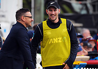 George Worker (right) chats with former Black Cap Nathan McCullum during the One Day International cricket match between the NZ Black Caps and Pakistan at the Basin Reserve in Wellington, New Zealand on Saturday, 6 January 2018. Photo: Dave Lintott / lintottphoto.co.nz