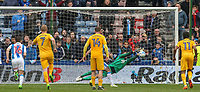 Preston North End's Chris Maxwell saves Huddersfield Town's Aaron Mooy late spot kick before Collin Quaner scored from the rebound<br /> <br /> Photographer Alex Dodd/CameraSport<br /> <br /> The EFL Sky Bet Championship - Huddersfield Town v Preston North End - Friday 14th April 2016 - The John Smith's Stadium - Huddersfield<br /> <br /> World Copyright &copy; 2017 CameraSport. All rights reserved. 43 Linden Ave. Countesthorpe. Leicester. England. LE8 5PG - Tel: +44 (0) 116 277 4147 - admin@camerasport.com - www.camerasport.com