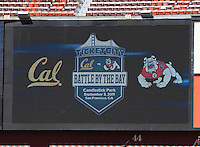 TV screen showing Battle of the Bay between California and Fresno State before the game at Candlestick Park in San Francisco, California on September 3rd, 2011.  California defeated Fresno State, 36-21.
