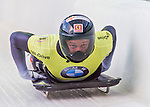 9 January 2016: Martins Dukurs, competing for Latvia, crosses the finish line on his second run of the day during the BMW IBSF World Cup Skeleton Championships at the Olympic Sports Track in Lake Placid, New York, USA. Martins Dukurs ended the day with a combined 2-run time of 1:48.28 and a resulting gold medal. Mandatory Credit: Ed Wolfstein Photo *** RAW (NEF) Image File Available ***