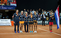Arena Loire,  Trélazé,  France, 16 April, 2016, Semifinal FedCup, France-Netherlands, Team presentation, Dutch team<br /> Photo: Henk Koster/Tennisimages