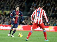 ATENCAO EDITOR IMAGEM EMBARGADA PARA VEICULOS INTERNACIONAIS - BARCELONA, ESPANHA, 16 DEZEMBRO 2012 - Lionel Messi (E) jogador do Barcelona durante partida contra o Atletico de Madrid pela 16 Rodada do Campeonato Espanhol no Camp Nou em Barcelona capital da Catalunha na Espanha. (FOTO: ALFAQUI / BRAZIL PHOTO PRESS).