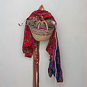Morocco - Tidzi - A basket hangs on the wall of Nina Amchine's house, president of the cooperative.