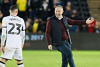 Swansea City manager Steve Cooper (R) speaks to Connor Roberts of Swansea City during the Sky Bet Championship match between Swansea City and Wigan Athletic at the Liberty Stadium, Swansea, Wales, UK. Saturday 19 January 2020