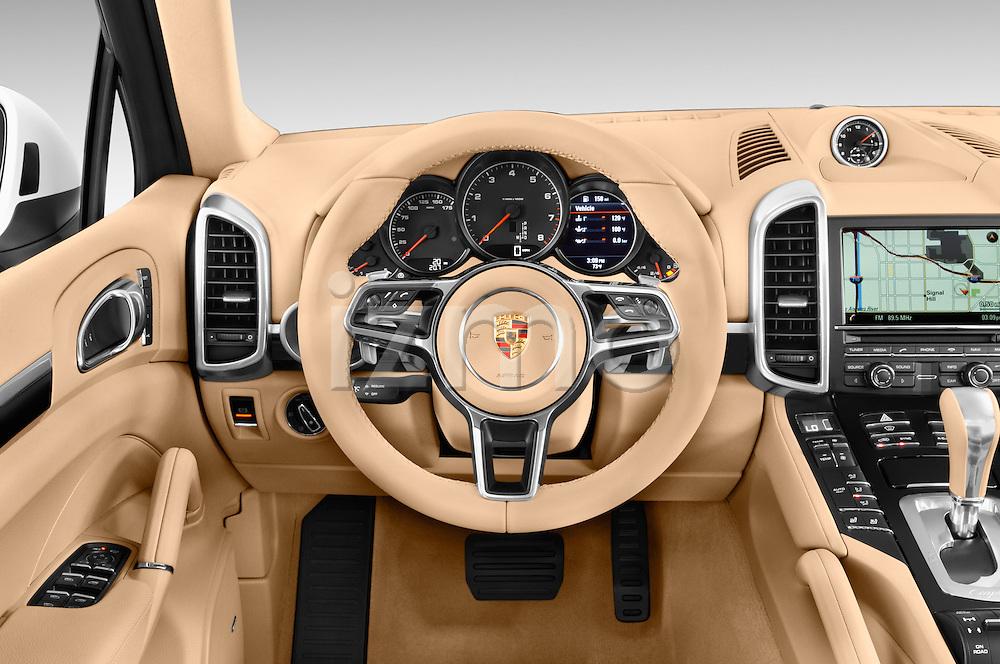 Car pictures of steering wheel view of a 2016 Porsche Cayenne Diesel 5 Door SUV Steering Wheel