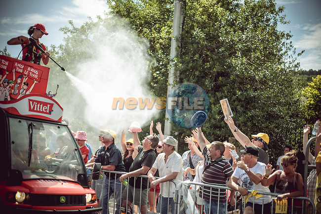Vittel keeping the fans cool at the finish of Stage 7 of the 104th edition of the Tour de France 2017, running 213.5km from Troyes to Nuits-Saint-Georges, France. 7th July 2017.<br /> Picture: ASO/Thomas Maheux | Cyclefile<br /> <br /> <br /> All photos usage must carry mandatory copyright credit (&copy; Cyclefile | ASO/Thomas Maheux)