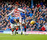 06.10.2019 Rangers v Hamilton: Connor Goldson heads in the second goal for Rangers
