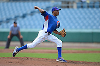Pitcher Kevin Steen Jr (13) of Oak Ridge High School in Oak Ridge, Tennessee playing playing for the Chicago Cubs scout team during the East Coast Pro Showcase on August 2, 2013 at NBT Bank Stadium in Syracuse, New York.  (Mike Janes/Four Seam Images)