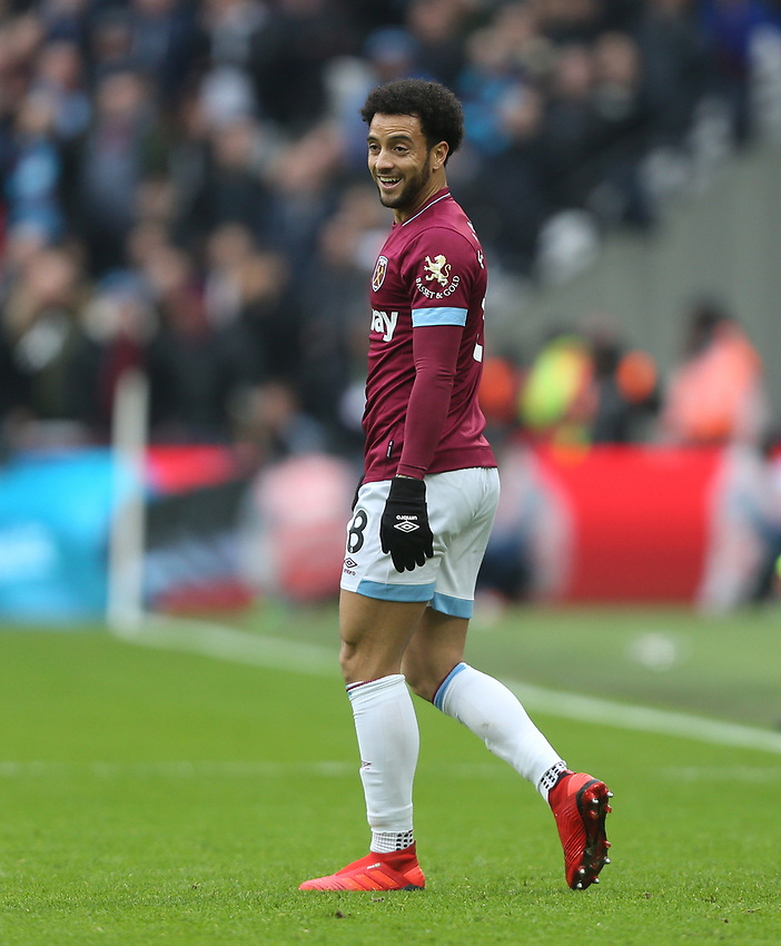 West Ham United's Felipe Anderson<br /> <br /> Photographer Rob Newell/CameraSport<br /> <br /> The Premier League - West Ham United v Arsenal - Saturday 12th January 2019 - London Stadium - London<br /> <br /> World Copyright © 2019 CameraSport. All rights reserved. 43 Linden Ave. Countesthorpe. Leicester. England. LE8 5PG - Tel: +44 (0) 116 277 4147 - admin@camerasport.com - www.camerasport.com