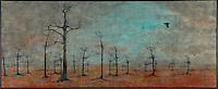 Bare tree winter forest with crows photo transfer silhouette over encaustic painting.