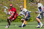 Costa Mesa, CA 03/08/14 - Wesley Berg (Denver #14), Matt Landis (Notre Dame #43) and Brian Buglione (Notre Dame #25) in action during the Notre Dame Irish and Denver Pioneers NCAA Men's lacrosse game at LeBard Stadium in Costa Mesa, California as part of the 2014 Pacific Coast Shootout.  Denver defeated Notre Dame 10-7 in front of a crowd of over 5800 spectators.