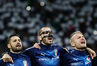 Soccer Football - 2018 World Cup Qualifications - Europe - Italy vs Sweden - San Siro, Milan, Italy - November 13, 2017<br /> Italy's Antonio Candreva (l) Leonardo Bonucci (c) and Ciro Immobile (r) line up prior to the start of the match between Italy and Sweden at the San Siro Satdium in Milan on November 13, 2017.<br /> UPDATE IMAGES PRESS/Isabella Bonotto