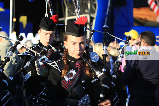 Bagpipes escort the players out during the Opening Ceremony of the Solheim Cup 2019 at Gleneagles Golf CLub, Auchterarder, Perthshire, Scotland. 12/09/2019.<br /> Picture Thos Caffrey / Golffile.ie<br /> <br /> All photo usage must carry mandatory copyright credit (© Golffile   Thos Caffrey)