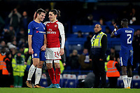 Cesar Azpilicueta of Chelsea and Arsenal's Hector Bellerin share a laugh at the final whistle during Chelsea vs Arsenal, Caraboa Cup Football at Stamford Bridge on 10th January 2018