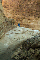 Mosaic Canyon in Death Valley National Park features colored polished marble smoothly polished by hundres of years of weather and floods through the narrow canyon.