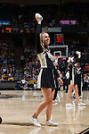 A Wake Forest Demon Deacons cheerleader gets ready to toss a t-shirt into the crowd during a first half timeout in the game against the North Carolina Tar Heels at the LJVM Coliseum on January 21, 2015 in Winston-Salem, North Carolina.  The Tar Heels defeated the Demon Deacons 87-71.  (Brian Westerholt/Sports On Film)